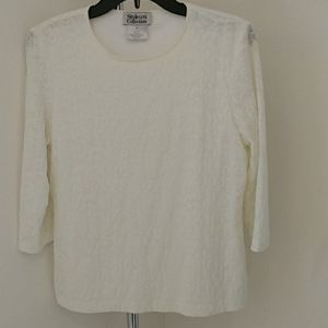 Dressy Off-White Stretchy Pullover Top